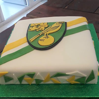 Norwich City Football celebration cake by Sweet Green Icing