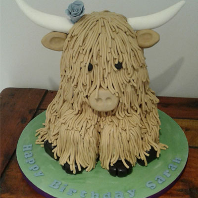 highland cow birthday cake made by sweet green icing