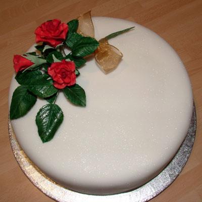 celebration cake with sugar icing